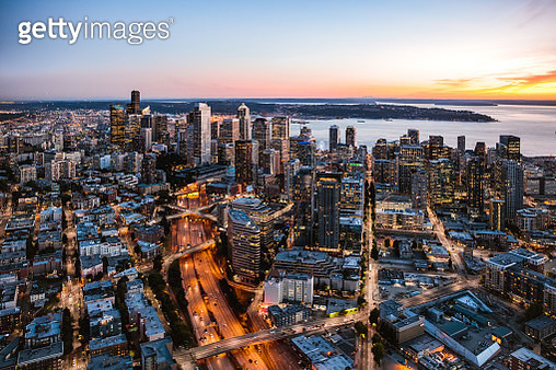 Aerial view of Seattle downtown skyline at dusk, USA - gettyimageskorea