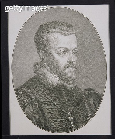 <b>Title</b> : King Philip II (1527-99) of Spain (engraving)<br><b>Medium</b> : <br><b>Location</b> : Private Collection<br> - gettyimageskorea