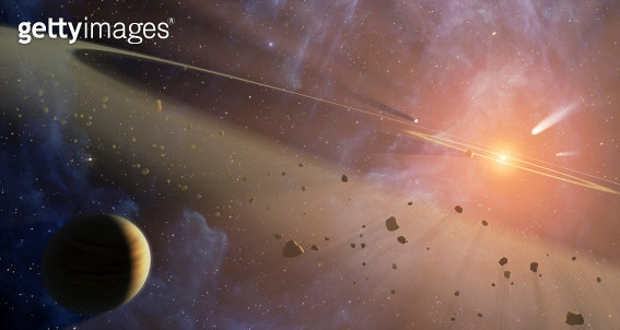 This artist's conception shows the closest known planetary system to our own, called Epsilon Eridani.  - gettyimageskorea