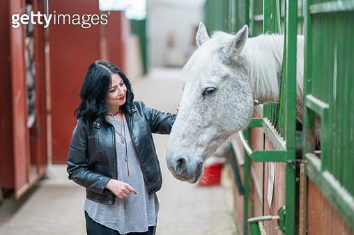 Beautiful woman loving her horse - gettyimageskorea