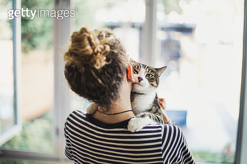 A teenager girl holding her cat - gettyimageskorea