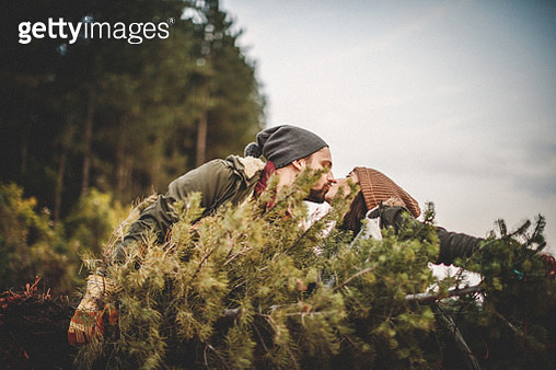 Young couple looking for a Christmas tree - gettyimageskorea