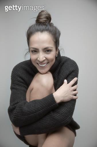 Portrait happy beautiful brunette woman in sweater - gettyimageskorea