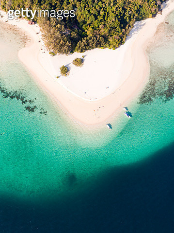 Aerial view of sandy tropical beach, bamboo island, Thailand - gettyimageskorea