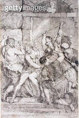 <b>Title</b> : The Crowning with Thorns, engraved by Luigi Scaramuccia (1616-80) 1675 (engraving) (see 60349)Additional Infooriginal altarpiece<br><b>Medium</b> : engraving<br><b>Location</b> : The Barber Institute of Fine Arts, University of Birmingham<b - gettyimageskorea