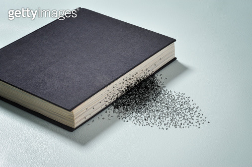 words falling off book of close book - gettyimageskorea