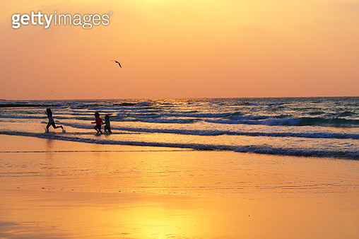 View of tourists enjoying Hyeopjae Beach at sunset - gettyimageskorea