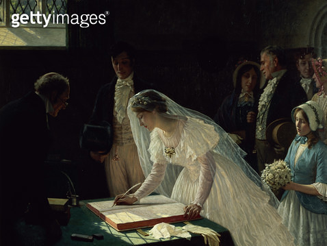 <b>Title</b> : Signing the Register (oil on canvas)Additional InfoThe Wedding Register;<br><b>Medium</b> : oil on canvas<br><b>Location</b> : Bristol City Museum and Art Gallery, UK<br> - gettyimageskorea