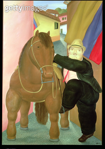 <b>Title</b> : Man on a Horse, 1984 (oil on canvas)<br><b>Medium</b> : oil on canvas<br><b>Location</b> : Private Collection<br> - gettyimageskorea