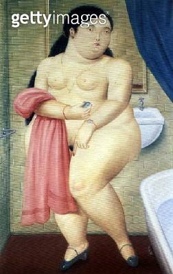 <b>Title</b> : The Bathroom, 1987 (oil on canvas)<br><b>Medium</b> : oil on canvas<br><b>Location</b> : Private Collection<br> - gettyimageskorea