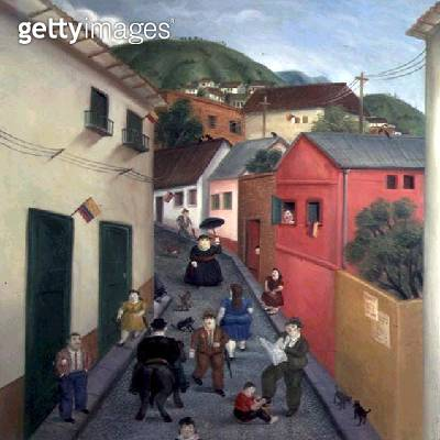 <b>Title</b> : The Street, 1987 (oil on canvas)<br><b>Medium</b> : oil on canvas<br><b>Location</b> : Private Collection<br> - gettyimageskorea
