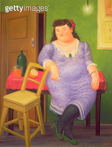 <b>Title</b> : Woman in a Blue Polka Dot Dress, 1994 (oil on canvas)<br><b>Medium</b> : oil on canvas<br><b>Location</b> : Private Collection<br> - gettyimageskorea