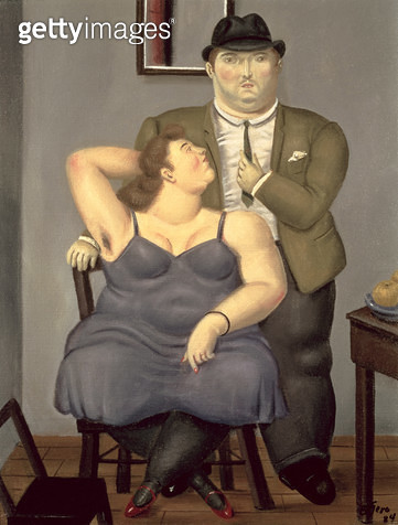 <b>Title</b> : Couple, 1984 (oil on canvas)<br><b>Medium</b> : oil on canvas<br><b>Location</b> : Private Collection<br> - gettyimageskorea