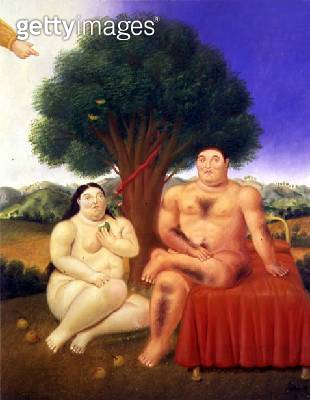 <b>Title</b> : Adam and Eve, 1993 (oil on canvas)<br><b>Medium</b> : oil on canvas<br><b>Location</b> : Private Collection<br> - gettyimageskorea