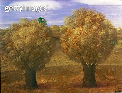 <b>Title</b> : Trees and Bird, 1980 (oil on canvas)<br><b>Medium</b> : oil on canvas<br><b>Location</b> : Private Collection<br> - gettyimageskorea