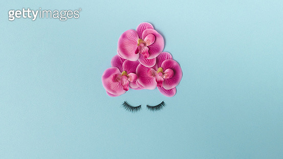 Creative minimal flat lay representing beauty concept - gettyimageskorea