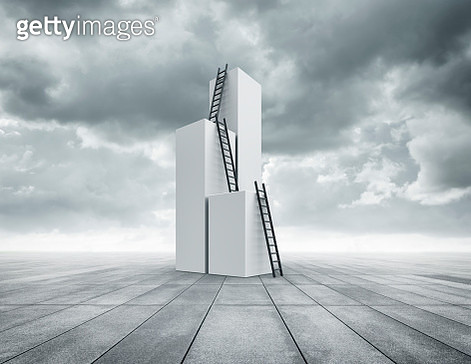 Ladders on columns - gettyimageskorea