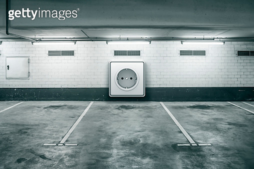Giant electrical outlet in underground car park - gettyimageskorea