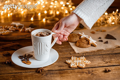 White cup filled with hot chocolate - gettyimageskorea