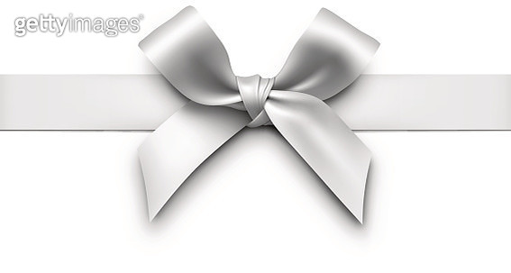 Silver Gift Bow with Ribbon - gettyimageskorea