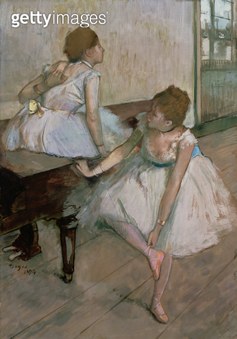 <b>Title</b> : Two dancers resting, 1874 (pastel)<br><b>Medium</b> : <br><b>Location</b> : Private Collection<br> - gettyimageskorea