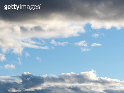 Full frame of the low angle view of sky blue and clouds  of white and gray color. High resolution photography - gettyimageskorea