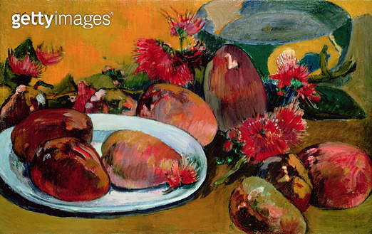 <b>Title</b> : Still Life with Mangos (oil on canvas)<br><b>Medium</b> : oil on canvas<br><b>Location</b> : Private Collection<br> - gettyimageskorea