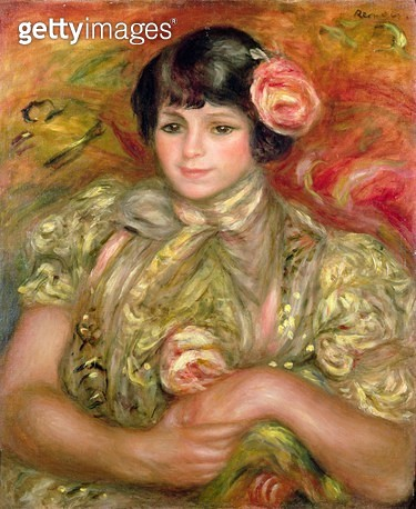 <b>Title</b> : Woman with a Rose (Femme a la Rose), 1900<br><b>Medium</b> : oil on canvas<br><b>Location</b> : Christie's Images<br> - gettyimageskorea