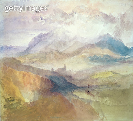 <b>Title</b> : View along an Alpine Valley, possibly the Val d'Aosta (w/c) (see also 15794)<br><b>Medium</b> : watercolour on paper<br><b>Location</b> : Private Collection<br> - gettyimageskorea