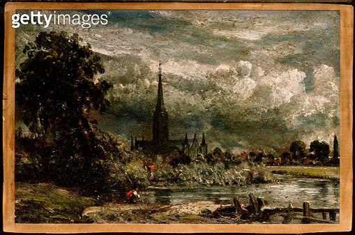 Salisbury Cathedral from the long bridge with an angler in the foreground - gettyimageskorea