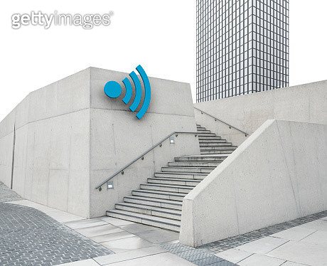 Cityscape with Wi-Fi symbol - gettyimageskorea