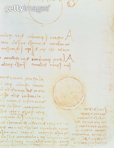<b>Title</b> : Codex Leicester. Folio 2 recto showing the outer luminosity of the moon (lumen cinerum) (pen & ink on paper)<br><b>Medium</b> : <br><b>Location</b> : Christie's Images<br> - gettyimageskorea