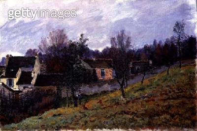 <b>Title</b> : Autumn at Louveciennes, 1873 (oil on canvas)<br><b>Medium</b> : oil on canvas<br><b>Location</b> : Private Collection<br> - gettyimageskorea