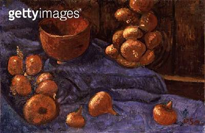 <b>Title</b> : Still Life with Onions, c.1896 (oil on canvas)<br><b>Medium</b> : oil on canvas<br><b>Location</b> : Private Collection<br> - gettyimageskorea