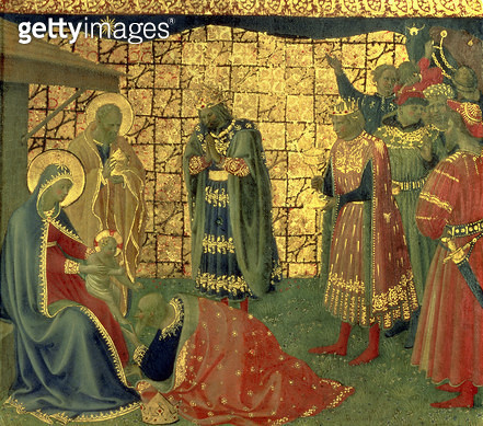 <b>Title</b> : Adoration of the Magi, detail from a predella panel, 1434 (tempera on panel) (detail of 98904)<br><b>Medium</b> : tempera on panel<br><b>Location</b> : Museo di San Marco dell'Angelico, Florence, Italy<br> - gettyimageskorea
