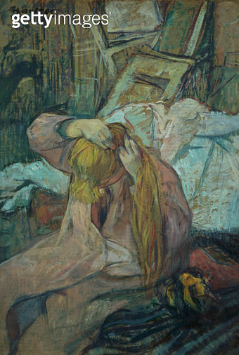 <b>Title</b> : Woman doing her hair, 1891 (oil on cardboard)<br><b>Medium</b> : oil on cardboard<br><b>Location</b> : Musee d'Orsay, Paris, France<br> - gettyimageskorea