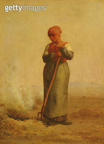 <b>Title</b> : The Stubble Burner (oil on canvas)Additional InfoLa Bruleuse d'Herbes;<br><b>Medium</b> : oil on canvas<br><b>Location</b> : Louvre, Paris, France<br> - gettyimageskorea