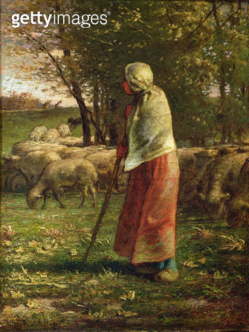 <b>Title</b> : The Little Shepherdess (oil on canvas)<br><b>Medium</b> : oil on canvas<br><b>Location</b> : Louvre, Paris, France<br> - gettyimageskorea