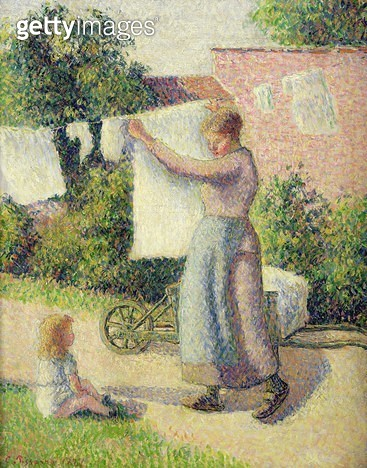 <b>Title</b> : Woman Hanging up the Washing, 1887 (oil on canvas)<br><b>Medium</b> : oil on canvas<br><b>Location</b> : Musee d'Orsay, Paris, France<br> - gettyimageskorea