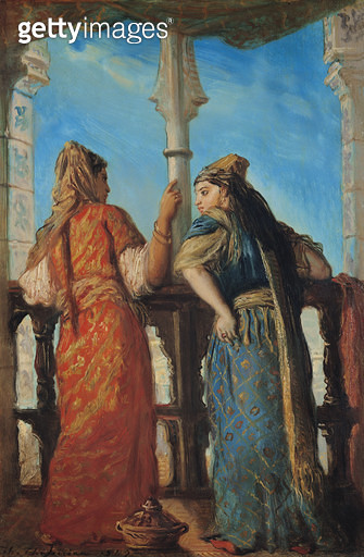 <b>Title</b> : Jewish Women at the Balcony, Algiers, 1849 (oil on canvas)<br><b>Medium</b> : oil on panel<br><b>Location</b> : Louvre, Paris, France<br> - gettyimageskorea