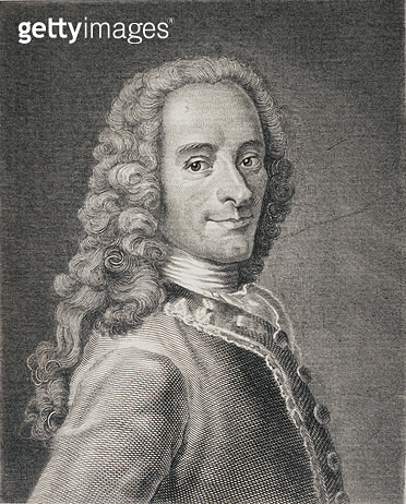 <b>Title</b> : Francois Marie Arouet de Voltaire (1694-1778) (engraving)<br><b>Medium</b> : <br><b>Location</b> : Private Collection<br> - gettyimageskorea