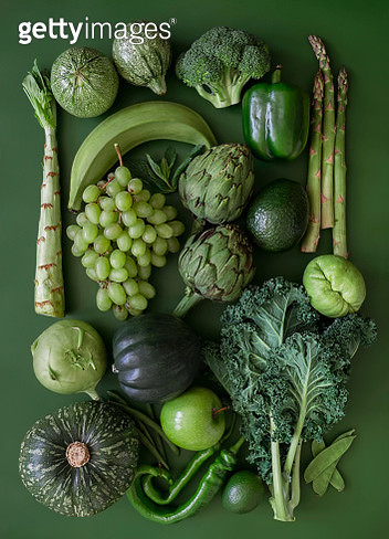 Looking down on monochrome green fruits and vegetables - gettyimageskorea