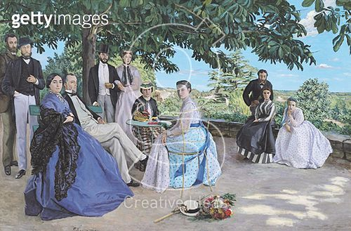 <b>Title</b> : Family reunion, 1867 (oil on canvas)<br><b>Medium</b> : oil on canvas<br><b>Location</b> : Musee d'Orsay, Paris, France<br> - gettyimageskorea