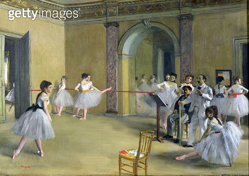 <b>Title</b> : The Dance Foyer at the Opera on the rue Le Peletier, 1872 (oil on canvas)<br><b>Medium</b> : oil on canvas<br><b>Location</b> : Musee d'Orsay, Paris, France<br> - gettyimageskorea