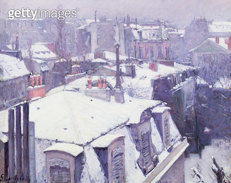 <b>Title</b> : View of Roofs (Snow Effect) or Roofs under Snow, 1878 (oil on canvas)<br><b>Medium</b> : oil on canvas<br><b>Location</b> : Musee d'Orsay, Paris, France<br> - gettyimageskorea
