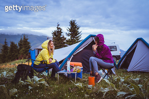 Female friends on camping - gettyimageskorea