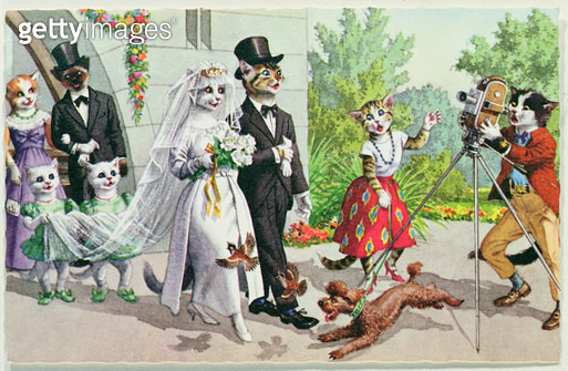 The Wedding/ early 20th century American postcard - gettyimageskorea