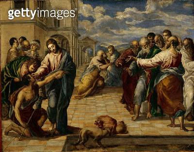 <b>Title</b> : Healing of the Blind Man, c.1570 (oil on panel)<br><b>Medium</b> : oil on panel<br><b>Location</b> : Gemaeldegalerie Alte Meister, Dresden, Germany<br> - gettyimageskorea