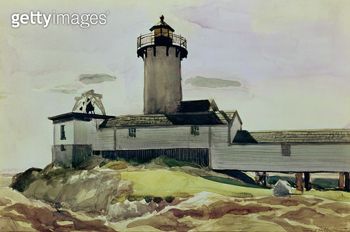 <b>Title</b> : Eastern Point Light, 1924 (w/c on paper)<br><b>Medium</b> : watercolour on paper<br><b>Location</b> : Private Collection<br> - gettyimageskorea