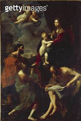 <b>Title</b> : Madonna Enthroned with Three Saints, before 1621 (oil on canvas)Additional Infopainting originally chapel of shoemakers' guild i<br><b>Medium</b> : oil on canvas<br><b>Location</b> : Gemaeldegalerie Alte Meister, Dresden, Germany<br> - gettyimageskorea